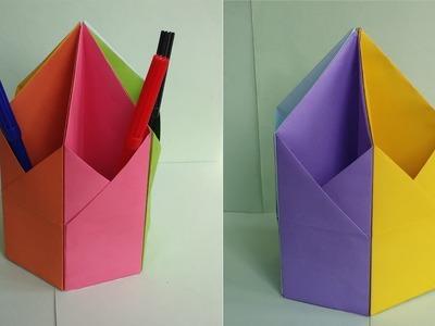 Origami Diy Pen Pencil Holder How To Make Origami Hexagonal