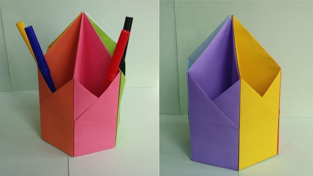 diy pen amp pencil holder how to make origami hexagonal