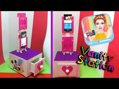 DIY vanity station for video makeup tutorials with carton boxes