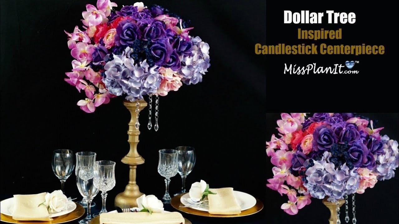 Dollar Tree Inspired Candlestick Centerpiece | DIY Tall Centerpiece | DIY Tutorial
