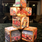 Fire Truck, Fire Man, Fire Engine Blocks Six Block Set