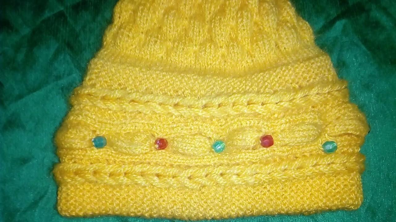 Handmade. .  girls.  crochet yellow. cap.