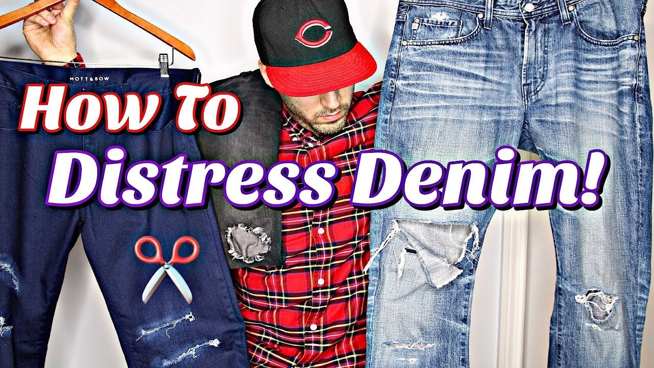 HOW TO DISTRESS DENIM! SIMPLE & EASY DISTRESSED JEANS TUTORIAL - DIY
