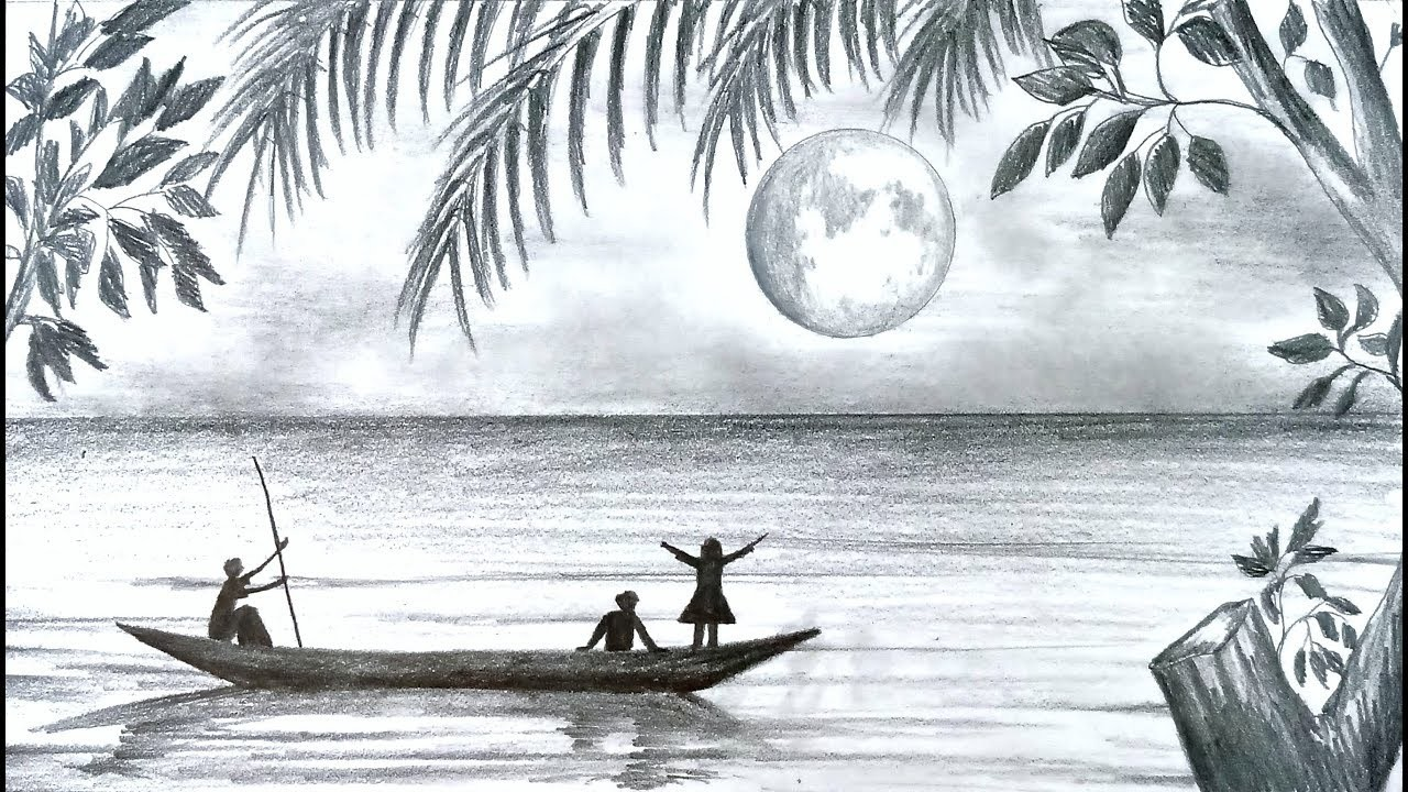 How To Draw Scenery Of Moonlight Night Scene With Pencil Sketch Step