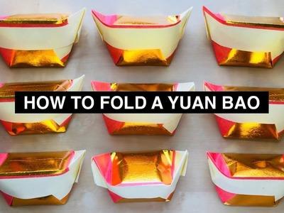 How to Fold a Yuan Bao (元寶) or Gold Ingot
