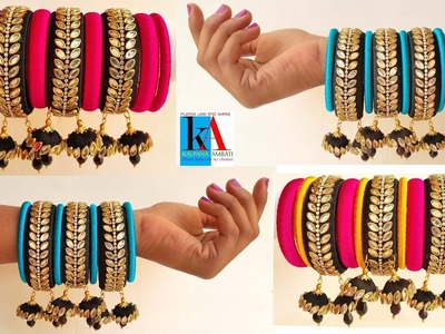 How to make designer silk thread fancy side bangles at home. using hangings tutorial