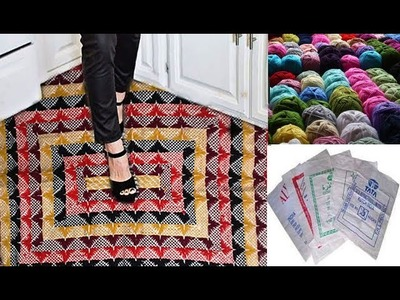 How to make door mat by wool thread & elastic bag.