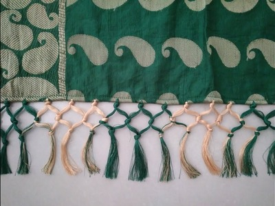 How to Make Double Color Saree Kuchu at home - Long Tessels Full Tutorial | Art with HHS