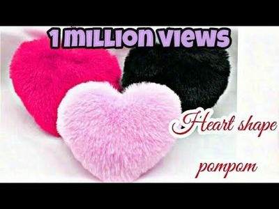 How to make heart shape pompom-heart gift for valentine's |handmade gift for valentine