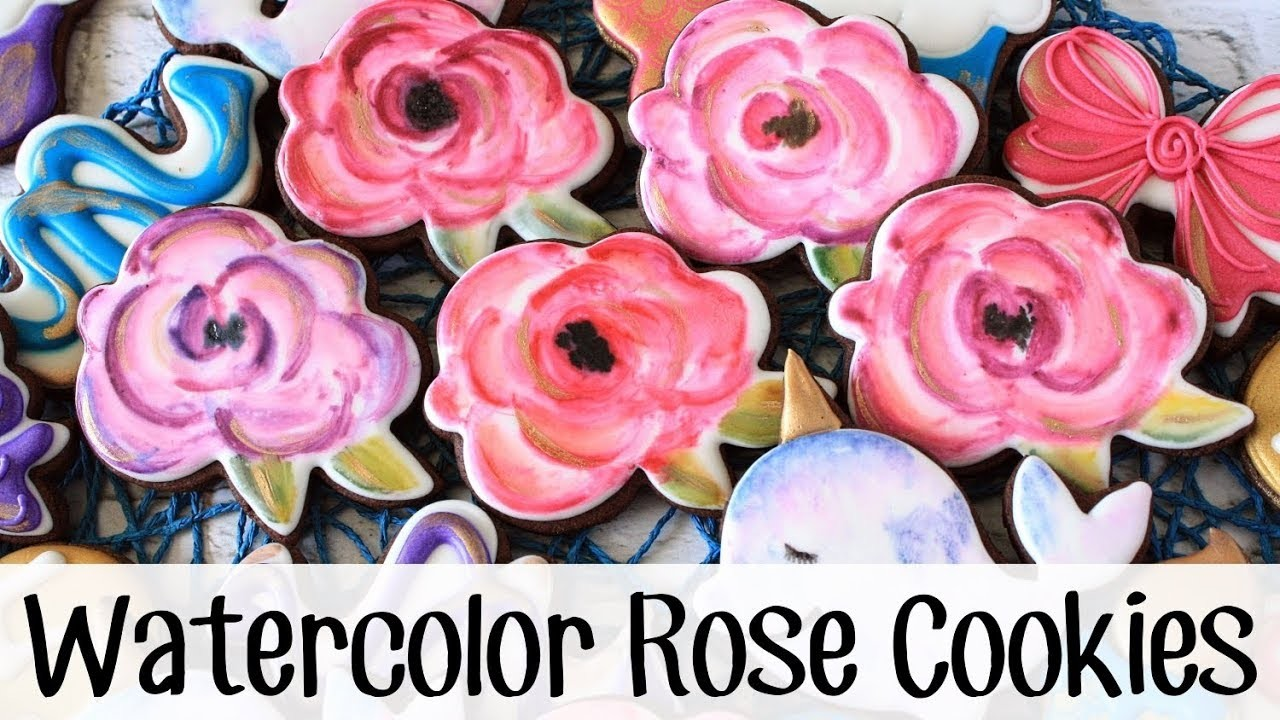 How to Make Watercolor Rose Decorated Cookies