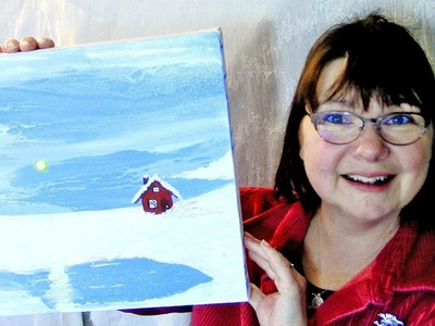 How to Paint a Little Red House in Snow, Fluid Acrylic Poured Painting