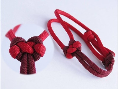 "How to Tie a Heart Shaped Knot.How to Make a Paracord ""Valentine's Day"" Friendship Bracelet"