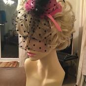 Pink and black pearl tule hat