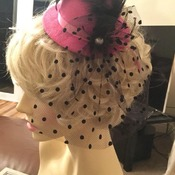 Pink and black pearl tule hat
