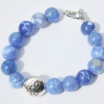 Powder Blue Marble Bead Bracelet with Lotus Accent Bead
