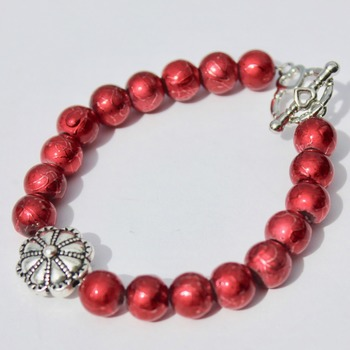 Red Foil Bead Bracelet with Flower Accent Bead