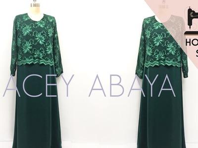 Simple Lacey Abaya Tutorial | Maxi Dress | Menjahit Jubah | How to Sew