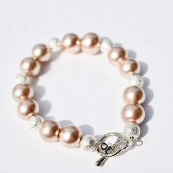 Smoke Glass Pearl Bracelet with Glitter accent Beads