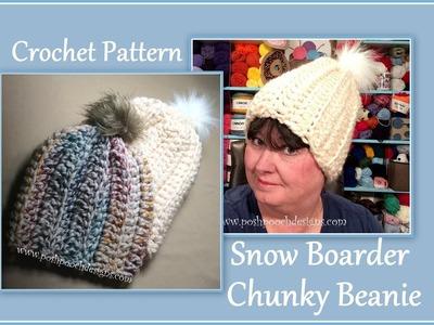 Snow Boarder Chunky Beanie Crochet Pattern