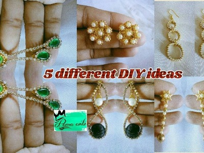 5 different DIY ideas of earrings | Making in different style | jewellery tutorials