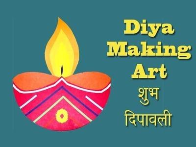 Diwali diya making for creative kids. School project. art and craft. home made