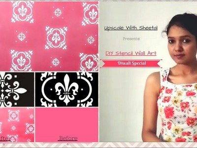 Diwali Special Home Makeover | DIY Stencil a Feature Wall Tutorial | How to stencil Damask Wall art