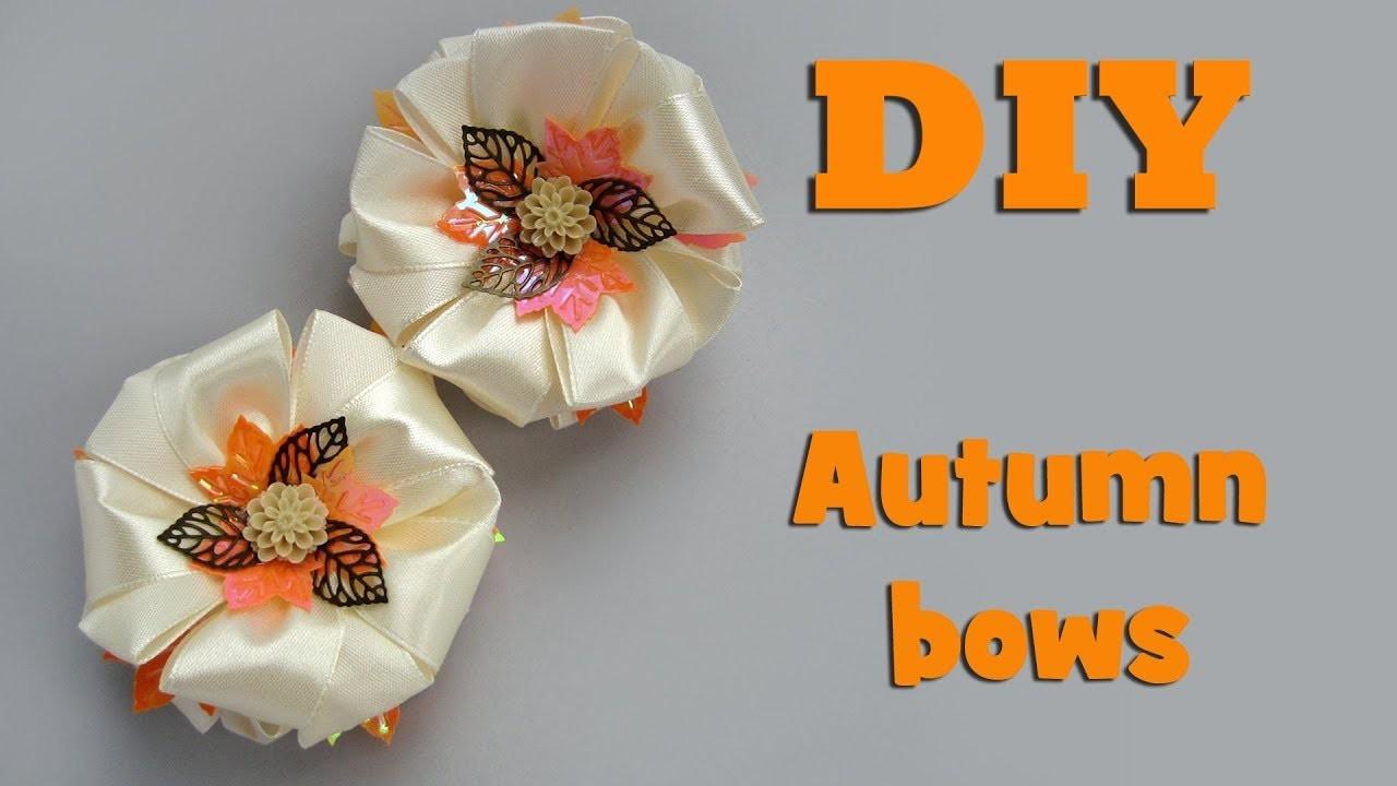 DIY autumn bows. Kanzashi tutorial