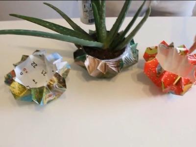 Diy Bastelidee - Oregami Blumentopf ! - Amazing Craft Idea Origami Flower Pot !