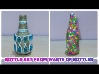 DIY BOTTLE CRAFT DECOR.WASTE OF EMPTY GLASS BOTTLES