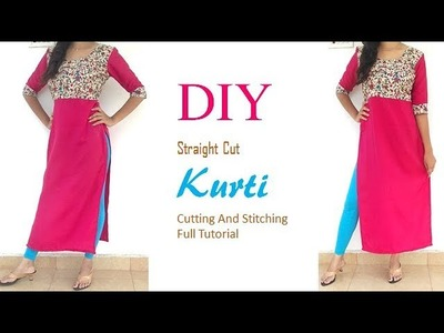 DIY Designer Straight Cut Long Kurti Cutting And Stitching Tutorial