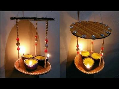 DIY Diya Stand.Diwali Diya Decoration ideas. How to make Hanging Diya Stand for Diwali