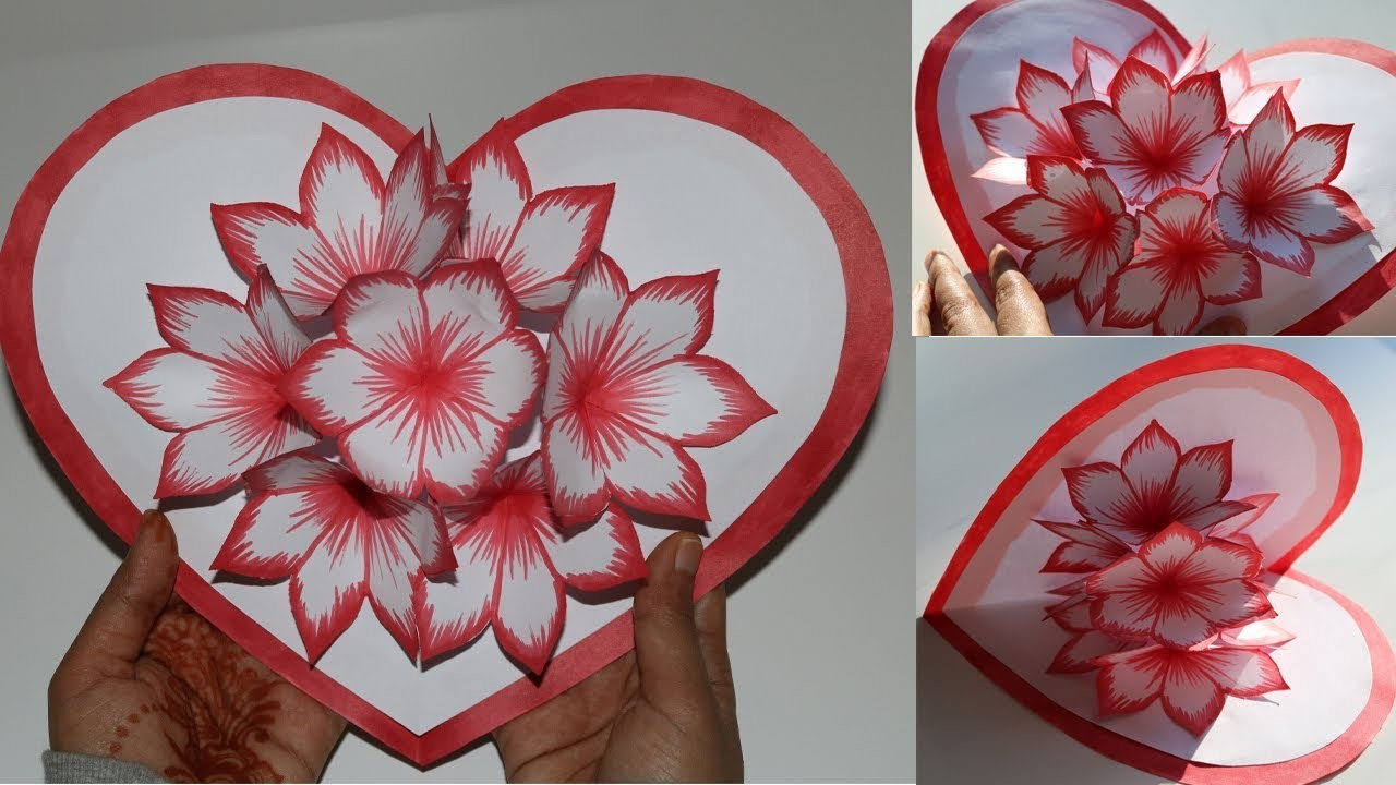 Diy flower pop up card paper crafts handmade craft my for Pop up card craft