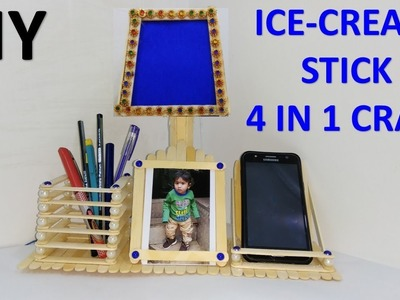 DIY Ice cream stick craft  || 4 in 1 craft || How to make ice cream stick lamp