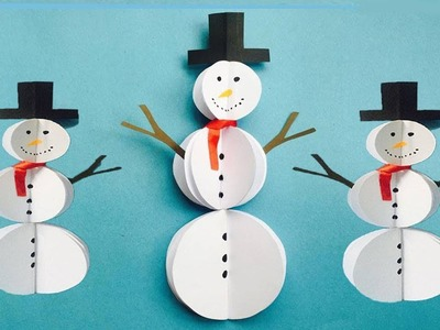 DIY Paper Snowman Craft | Easy Snowman Making Ideas by Hacksland