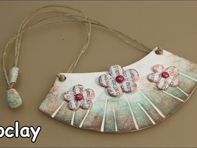 DIY Rustic necklace. With inks and letters transferred -Polymer clay tutorial