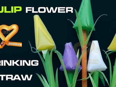 DIY Tulip Flower crafts - How to make Pretty drinking Straw Tulip Craft #DIY Art Straws