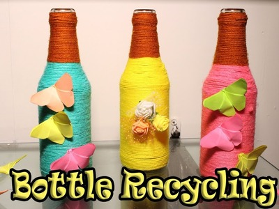 DIY Wine Bottle Home Decoration Idea | Upcycle Glass Bottles | Recycled Craft | Easy Home Decor
