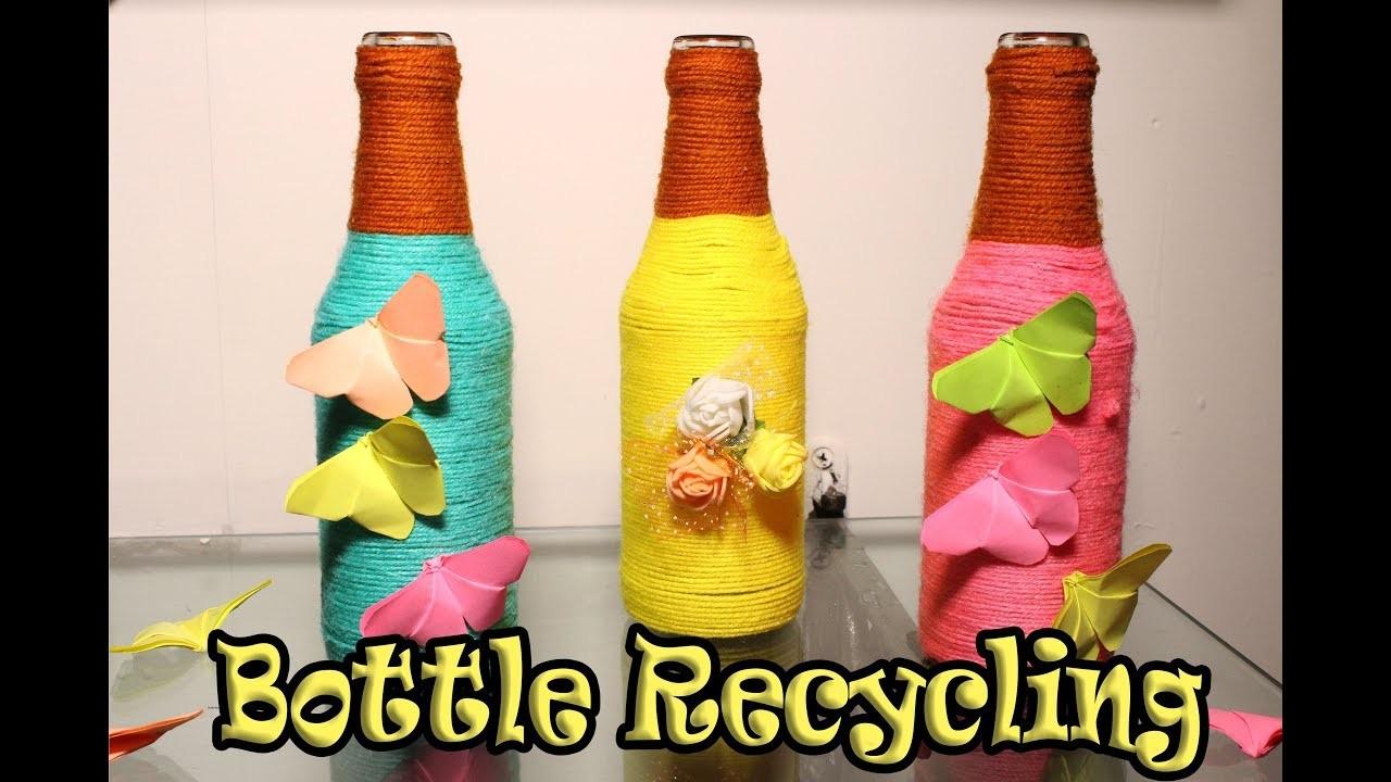 Diy wine bottle home decoration idea upcycle glass for Bottle decoration ideas kids