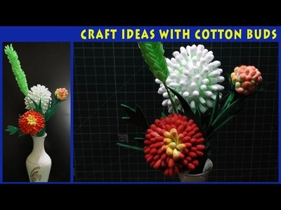 How to create CRAFT IDEAS WITH COTTON BUDS:Flower Vase
