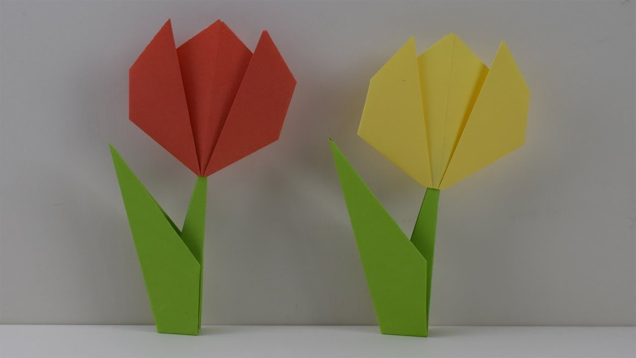 How To Make An Easy Paper Tulip Origami Flower Diy Craft Ideas