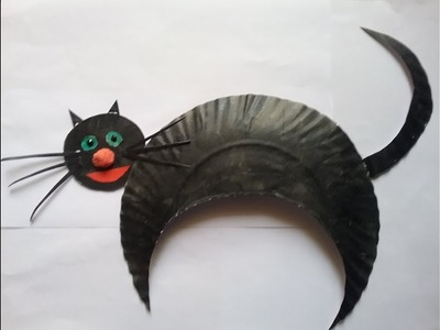 How to make Halloween Black Cat paper craft. DIY easy paper plate cat halloween  craft