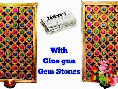 How to make Newspaper wall hanging with Glue Gun Gemstones | Newspaper Craft