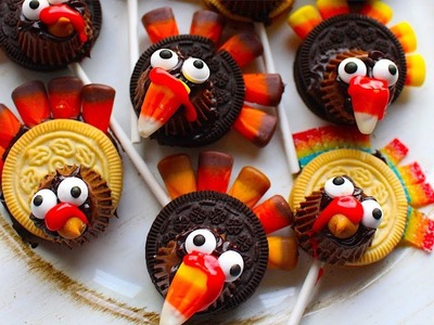 How To Make Thanksgiving Oreo Turkey Pops! Fun Kids Treat Craft!