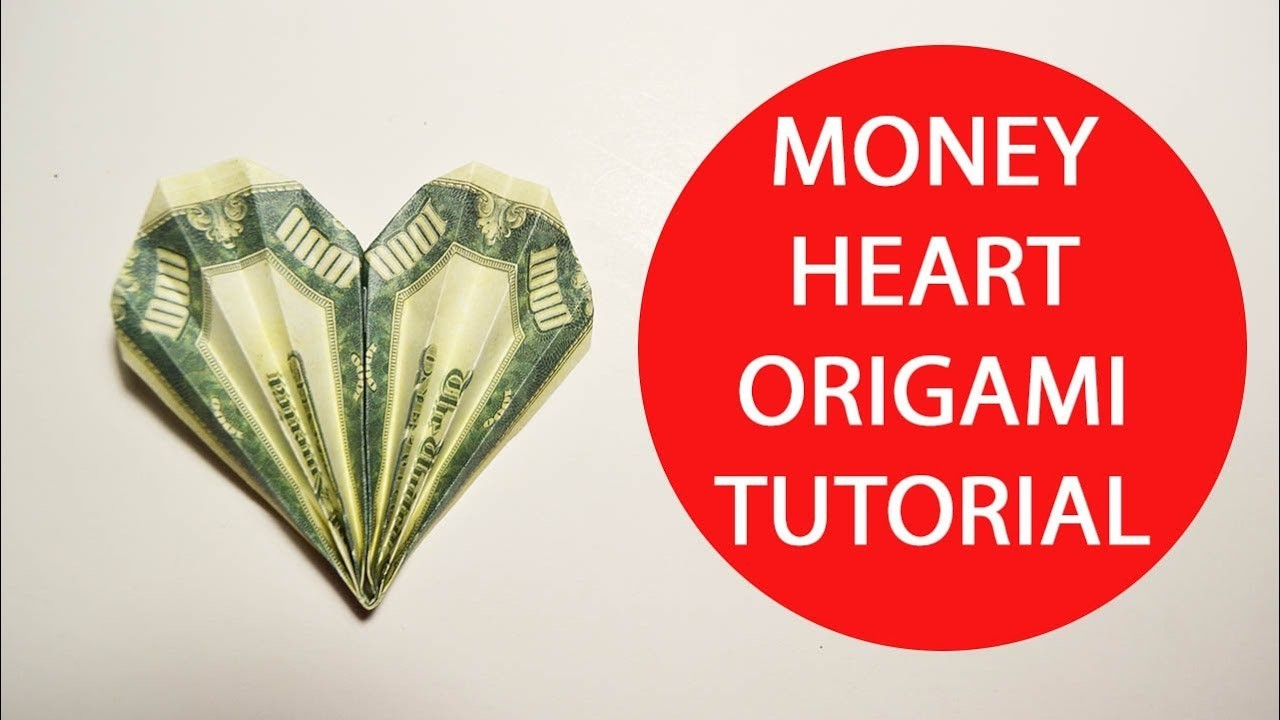 money heart origami 1 dollar folded tutorial diy craft no