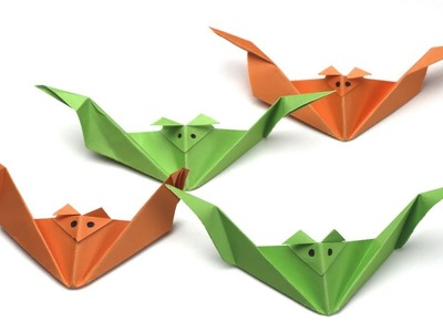 Origami Bat - Tutorial: Easy origami animal - Halloween crafts - DIY Halloween decorations
