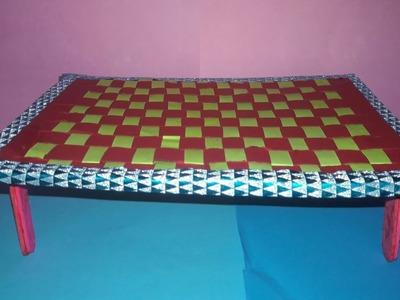 Paper weaving craft - cot, telugu tlm,  మంచం,
