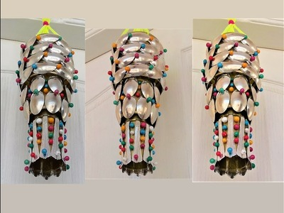 Plastic Bottle & Plastic Spoon Craft. Wall Hanging. Wind Chime. Recycle Idea. Best out of waste