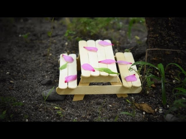 Popsicle Stick Home Decor and Garden Decor Art and Craft Ideas | Ice cream Stick Bench