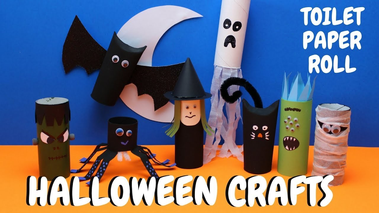easy, toilet paper roll halloween crafts, paper roll craft, toilet