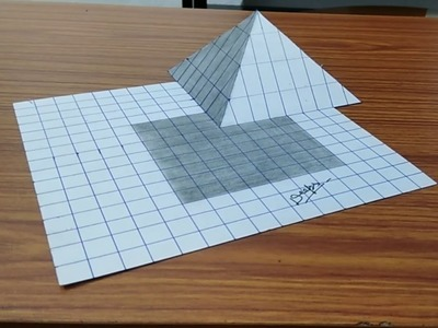 3D Trick Art on Line Paper Floating Pyramid- Anamorphic illusion- Draw step by step